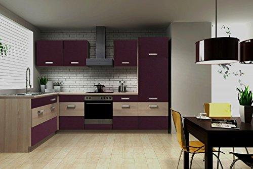 Küche Susanne 172x280 cm Küchenzeile in aubergine/Akazie - Küchenblock variabel stellbar