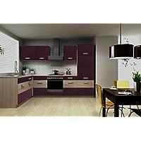 Küche Susanne 172x280 Cm Küchenzeile In Aubergine/Akazie   Küchenblock  Variabel Stellbar