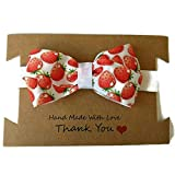 Red and White Strawberry baby or toddler headband with bow. Sizes Premature to 6 year old.