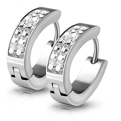 Kristall-Creolen von Bungsa® | Hochwertige Silber-Ohrringe Damen | Edelstahl-Creolen für den perfekten Auftritt | Creolen-Silber
