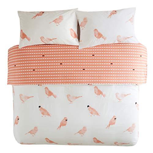 SCM Bettwäsche 230x220cm Vögeln 100% Baumwolle Renforcé Übergröße 3-teilig Bettbezug & Kissenbezüge 50x75cm Landhaus Ideal für Schlafzimmer Cardiff - Ägyptische Baumwolle Bett