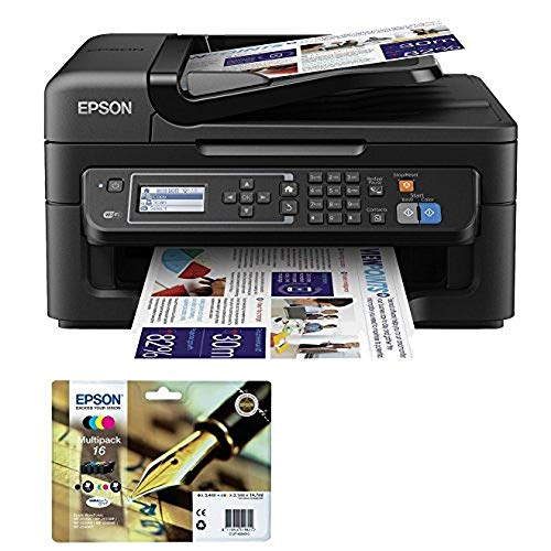 Epson WorkForce WF-2630WF Tintenstrahl-Multifunktionsgerät Drucker (Scannen, Kopieren, Fax, WiFi, WiFi Direct, USB, Einzelpatronen, DIN A4) schwarz
