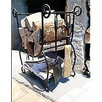 Forest Master Canag - Rastrelliera decorativa per legna da ardere, in metallo, per interni, colore: oro
