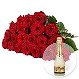 20 rote Rosen und Freixenet Semi Seco