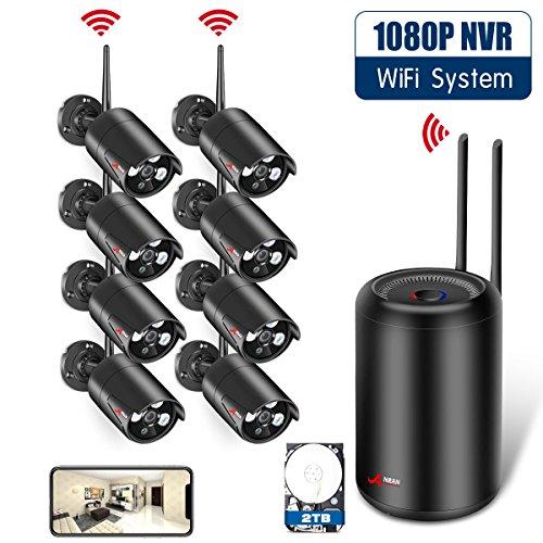 ANRAN 8-Kanal-Überwachungskamerasystem mit 2 TB Festplatte, HD 2MP 1080P NVR für den Innen- und Außenbereich Videoüberwachung WiFi-Kameras mit 2,9 m Nachtsicht und Bewegungserkennung