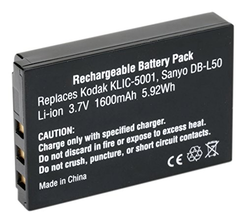 Amsahr Digital Replacement Camera and Camcorder Battery for Kodak KLIC-5001, EasyShare DX6490