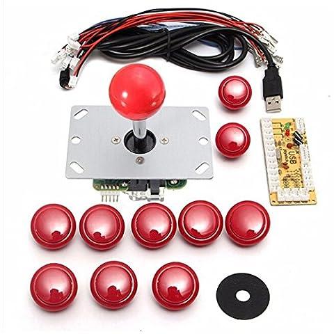 MECO 5 Pcs Broches de Joystick Zéro Retard PCB bord + USB 2.0 PC Poignée Encodeur Manette Arcade Joystick Manette Arcade PC DIY Arcade DIY Game handle Gamepad Compatible avec MAME & Bâton de Combat