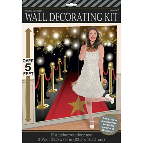 llywood Party Wanddekoration VIP 82,5 x 165 cm Fotowand Roter Teppich Scene Setter Oscar Verleihung ()
