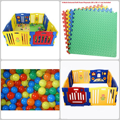 Plastic Baby Playpen - 8 Plastic Panels Including Fun Activity Learning Centre - 9 Interlocking Floor Mats and 100 Bright Coloured Play Balls - Safe, Strong and Durable
