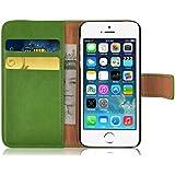 iPhone SE, iPhone 5/5s Lederhülle | JAMMYLIZARD Ledertasche [ Retro Series ] Leder Hülle Flip Case Cover Schutzhülle mit Kartenfach, Grasgrün
