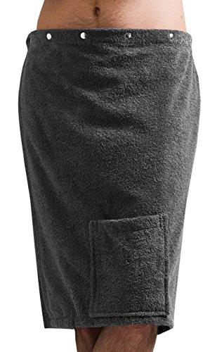 Saunakilt Herren grau - anthrazit, das Saunatuch FUN aus Frottee Baumwolle, Saunarock mit Druckknöpfen, Tasche und Gummizug