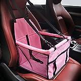 Hunde Autositz, Flying Beauty Portable Haustier Autositzbezug Auto Sitzerhöhung mit Clip-On Sicherheitsleine und Reißverschluss Aufbewahrungstasche für kleine und mittlere Haustiere bis zu 20 lbs (Rosa)