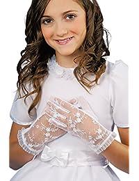 MGT-Shop Mädchen Kommunionshandschuhe Kommunionhandschuhe Blumenkinderhandschuhe U78