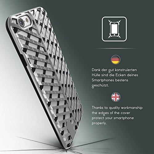 Urcover® Apple iPhone 6 Plus / 6s Plus Schutzhülle Sword Series Back-Case Cover Gitter Schale Smartphone Schwarz / Schwarz Schwarz / Silber