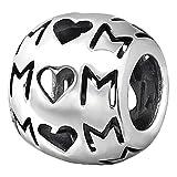 So Chic Joyas - Abalorio Charm de texto mamá mamá Corazón ahuecado - Compatible con Pandora, Trollbeads, Chamilia, Biagi - Plata 925