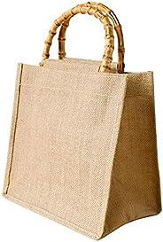Borsa con manico in bambù artistico, borsa da donna in iuta, sacchetto regalo in cotone fresco e lino