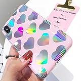 LAPOPNUT Coque iPhone 6 iPhone 6S Étui Mignon avec Paillettes Scintillantes Motif de Coeurs d'amour au Laser Housse Souple Flexible et Transparente Silicone Coque Arrière pour Filles, Rose