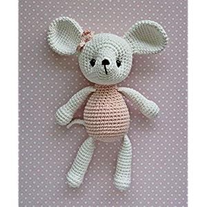 Häkeltier Kuscheltier Mäuschen weiß/hellrosa aus Bio-Baumwolle 21 cm Handarbeit