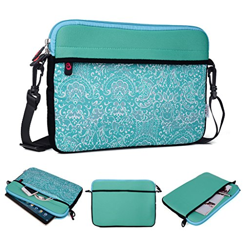 Kroo Tablet/Laptop Hülle Sleeve Case mit Schultergurt für Allview Viva H1001LTE grün blaugrün