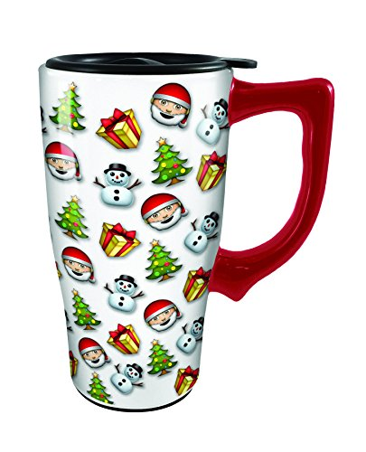 Spoontiques 12798 Christmas Emoji's Ceramic Travel Mug, White