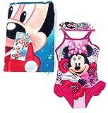 Minnie Mouse Costume da Bagno Bambina + Telo Mare Piscina Microfibra Minnie Mouse Disney (6 Anni)