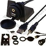 AutoScheich® USB Klinke 3,5 mm Einbau Buchse Adapter Kabel Anschluss AUX IN Verlängerung KFZ