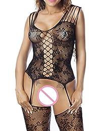 e66cedf523 MEIbax Clearance Sexy Frauen Fischnetz Sheer Open Crotch Body Stocking  Bodysuit Dessous (freie Größe,