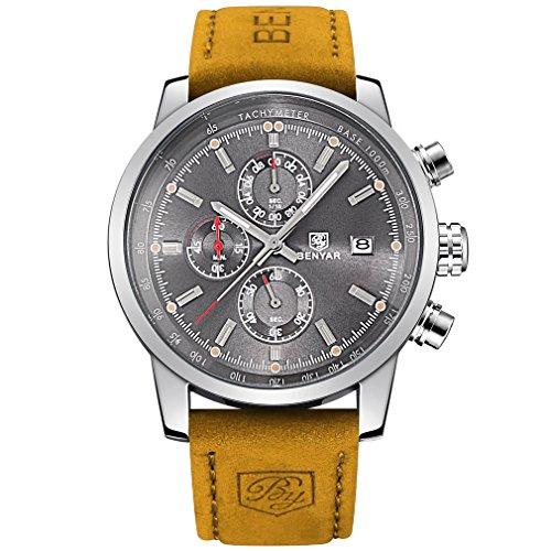 benyar cuarzo cronógrafo impermeable relojes Business Casual Deporte banda correa de piel color marrón reloj de pulsera