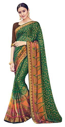 Green Colour Brasso Saree