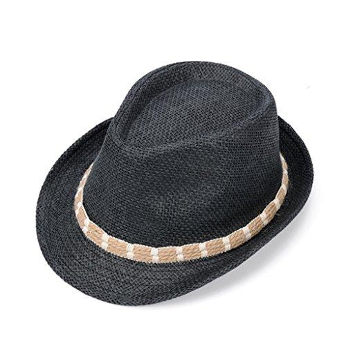 Tong Heng Sheng Firm Foldable Fedora Trilby Hat Summer Beach Sun Jazz Cap for Men