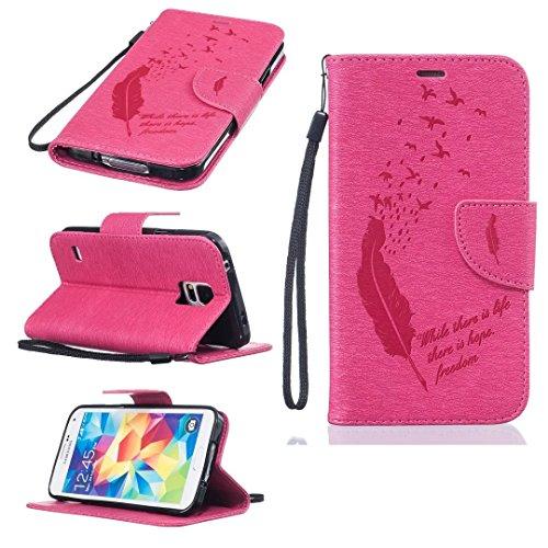 Qiaogle Telefon Case - PU Leder Wallet Schutzhülle Case für Apple iPhone 7 (4.7 Zoll) - BF49 / Schwarze Federn und Hoffnung auf das Leben BF52 / Rosa
