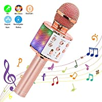 Wireless Karaoke Microphone, Ankuka 4 in 1 Handheld Bluetooth Microphones Speaker Karaoke Machine with Dancing LED Lights, Home KTV Player Compatible with Android & iOS Devices for Party/Kids Singing