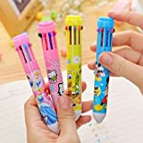 #2: Cute Animated cartoon 10 color Ballpoint Pen For Writing School Supplies Office Accessories Stationary Kids Student Gift (pack of 2)