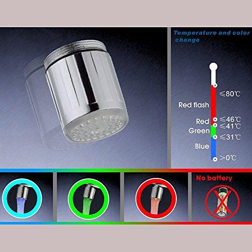 2 Packung Bunte LED Wasser Wasserhahn mit 3 Farben wechseln Temperaturkontrolle, FLYING RC-F03 Wasser-Wasserhahn-Hahn Für Küche und Badezimmer. - 4