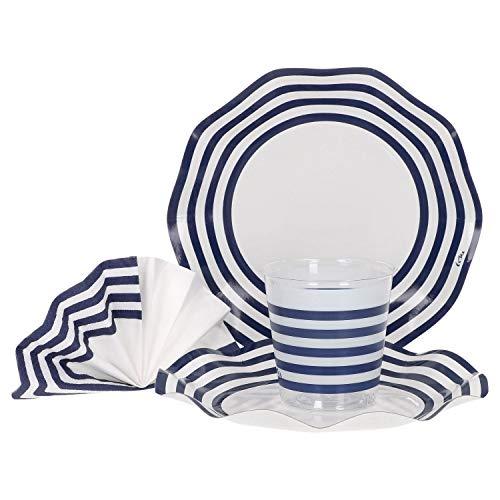 MamboCat 36-TLG. Einweggeschirr Party-Set Popeye blau-weiß gestreift   Pappgeschirr für 8 Personen: Pappteller + Becher + Servietten   für Festliche Anlässe und Partys