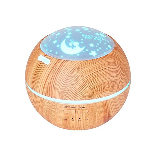 XXJSHQ Mini 7 Farbe LED Nacht Beleuchtung Aromatherapie Ätherisches Öl Diffusor Ultraschall Duft Duftöldiffusoren Luftbefeuchter Holz Korn (150ML), Grass Green
