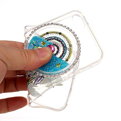 Custodia per Apple iPhone SE/ 5S/ 5 case,Herzzer Mode Crystal iPhone SE/ 5S/ 5 Elegante Creativo trasparente acchiappasogni con Bling Diamanti Strass Glitter liquido cuore amore Sabbie mobili Flusso B Celeste