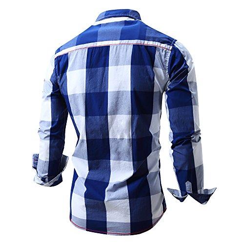BicRad Herren Kariertes Hemd Langarm Oktoberfest Bügelfrei Freizeithemd Baumwolle Slim Fit Blau-099