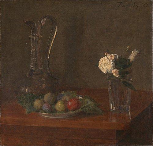 Das Museum Outlet-ignace-henri-théodore fantin-latour-Stillleben mit Glas Krug, Obst und Blumen, gespannte Leinwand Galerie verpackt. 50,8x 71,1cm (Teal Krug)