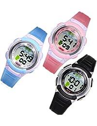 dbbc34a43e48 JewelryWe 3pcs Relojes de Pulsera para Niños Niñas Infantil