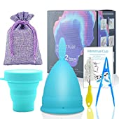 SPEQUIX Menstrual Cup and Sterilizing Cup Set for Women Menstrual Hygiene Cups with Foldable Collapsible Silicone Cup Gifts for Women