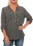 malito Bluse mit Langer Knopfleiste Hemdbluse Klassisch 3/4 Tunika Oberteil T-Shirt Top Loose Longsleeve Oversized 6715 Damen One Size (oliv)