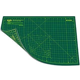 ANSIO 4016 Schneidematte Selbstheilende A3 Doppelseitige 5 Schichten sassend für Kunst, Nähen - Imperial/Metric 17 x 11 Zoll / 44 x 29 cm- Grün / Grün