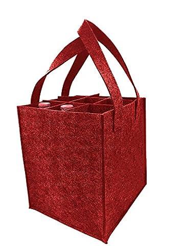Starke Filz Wein Tasche mit Griff, HomeYoo Weinflasche Geschenk Tasche für Reisen Party Strand Urlaub Geburtstagsparty, wiederverwendbare Waschbar mit abnehmbaren Teiler, nicht Allergene Materialien (9 Flaschen, Rot)