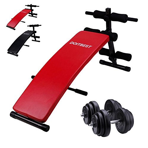 CCLIFE Bauchtrainer mit 30kg Hantelset Sit-up Bank Trainingsbank Bank klappbar Tainingsbank 6-Fach verstellbar belastbar bis 120kg Rot / Schwarz