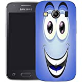 Mobile Case Mate Samsung Galaxy Ace 4 G357 clip on Silicone Coque couverture case cover Pare-chocs + STYLET - blue smiley character pattern (SILICON)