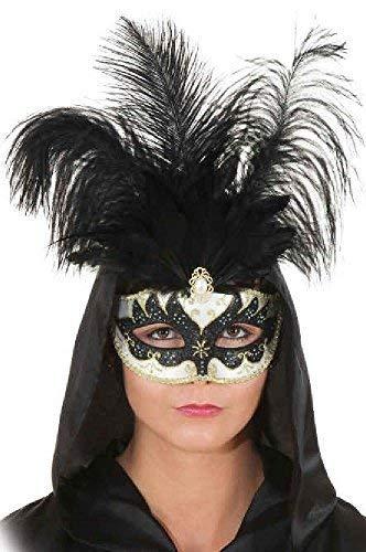 Fancy Me Femmes Große Federn schwarz weiß Harlekin Halbes Gesicht, Maske, Kostüm, Kostüm, Maske -
