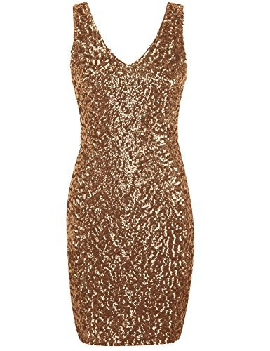 Kayamiya Women's 1920s V Neck Full Sequined Bodycon Mini Flapper Cocktail Dress L Gold
