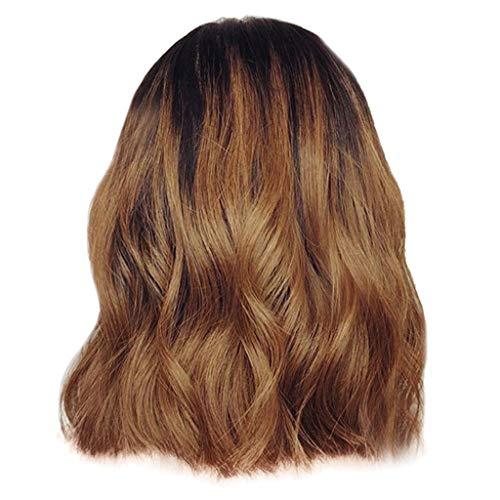 kashyk Damenperücke, Mode Ombre hitzebeständige synthetische Spitze lockiges Haar gewelltes lockiges Haar Mischfarbe Perücke, Rollenspiele, täglichen Gebrauch (Lange Regenbogen Perücke)