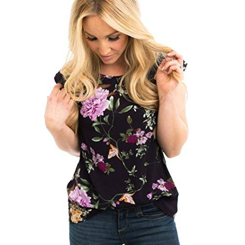 IMJONO.Damen-Oberteile beiläufiges ärmelloses mit Blumen Bedrucktes Spitzenhemd O Hals-Weste-Bluse(Schwarz,Large)